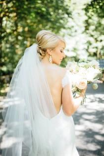 "wedding photo - 2 Tier Waltz Veil 54""  w/ Hip Length Blusher 36"" (Blush, Ivory, Light Ivory, Diamond White or White)"