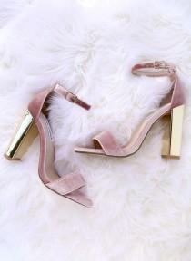 wedding photo - Steve Madden Carrsonv Pink Velvet Ankle Strap Heels