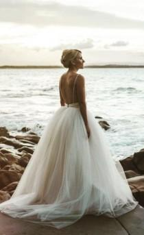 wedding photo - Spaghetti Strap Low Open Back Ballgown Wedding Dress