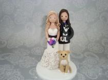 wedding photo - Unique Cake Toppers - Customized Handmade Same Sex Wedding Cake Topper