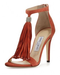 wedding photo - Jimmy Choo Viola Suede Tassel Sandal, Agate
