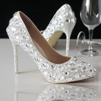 wedding photo - Celebrity Pointed Toe Sparkle Crystal Bridal Heels Shoes Shinny Heels