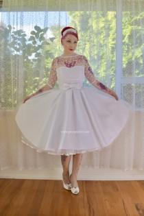 "wedding photo - 1950's ""Anita"" Polka Dot Wedding Dress with Sweetheart Neckline, Tulle Extra Full Circle Skirt and Petticoat - Custom made to fit"