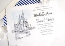 wedding photo - Disney World Cinderella's Castle Fairytale Wedding Invitation, Quinceañera Package (Sold in Sets of 10 Invitations, RSVP Cards + Envelopes)