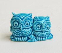 wedding photo - Retro Aqua Owl Bird Figurines Miniature Ceramic Wedding Cake Toppers - Made to Order