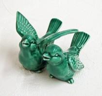 wedding photo - Ceramic Love Bird Wedding Cake Toppers Handmade Keepsake Figurines in Emerald Green - Made to Order