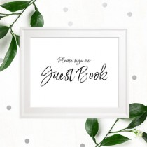 wedding photo -  Stylish Hand Lettered Printable Guest Book Sign-Calligraphy Guest Book Sign-DIY Handwritten Style Wedding Decor-Please Sign our Guest Book