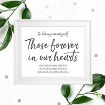 wedding photo -  Stylish Hand Lettered Memorial Wedding Sign-In loving Memory of Those Forever in our Hearts Custom Sign-Printable Calligraphy Memorial Sign