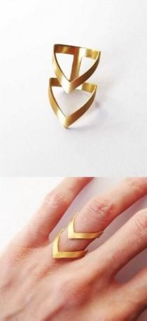 wedding photo - CHRISTMAS GIFT For HER - Gold Chevron Ring - 24K Gold Plated Bronze Ring - Statement Ring - Gold Statement Ring