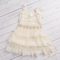 wedding photo - Ivory lace flower girl dress, rustic flower girl dress,country lace flower girl dress, Ivory lace dress, Baptism dress, flower girl dresses.
