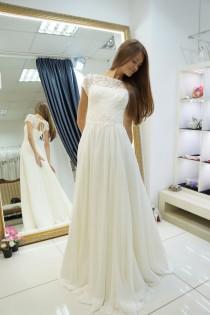 wedding photo - Chiffon wedding dress, Nikoletta weddind dress, beach wedding dress, destination wedding dress, gown for your beach wedding, wedding gown