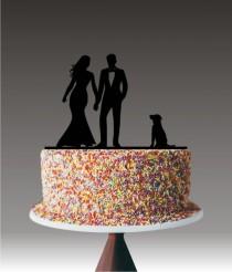 wedding photo - Couple Wedding Cake Topper with Dog, Custom Wedding Cake Topper, Dog Cake Topper, Pet Cake Topper, Custom Dog Cake Toppers YTD1027