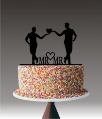wedding photo - Gay Wedding Cake Topper, Same Sex Cake Topper, Mr and Mr Wedding Cake Topper, Mr Heart Mr Cake Topper, Transgender Cake Toppers YTD1026