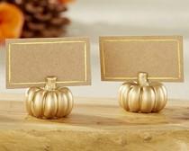 wedding photo -  Beter Gifts® Gold Pumpkin Place Card Holder (Set of 6)
