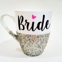 wedding photo - BRIDE With Pink Heart - Hand Glittered Coffee Mug - Your Wedding Date On Back - Available In Silver Or Gold Glitter - Made To Order