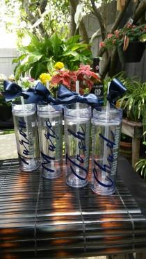 wedding photo - Skinny Personalized Tumbler - Wedding Party Acrylic Tumbler - Party Favors Acrylic Tall Tumblers- Bridesmen-Men of  Honor-Custom Tumbler