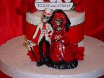 wedding photo - Custom Halloween RED HOT Love Never Dies Bride Groom Day of the Dead Gothic Wedding Cake Toppers- Romantic Skeleton Figurines-CRB5