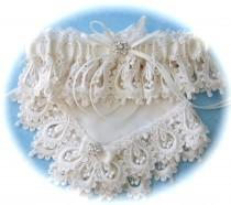 wedding photo - Wedding Garter with Hanky in Heirloom Venice Lace, Satin and Heirloom Batiste