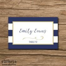 wedding photo - Nautical Place Cards, Escort Cards, Food Labels - PRINTABLE file - Nautical Wedding, navy and gold or any colors - Keira
