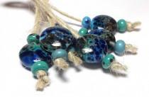 wedding photo - Lampwork glass bead handmade Beads supplies jewelry Beads for jewelry making Set Beads SRA Murano Beads Beads turquoise blue dark turquoise.