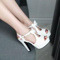 wedding photo - Cute Street Style Peep Toe Bow High Heel Sandals