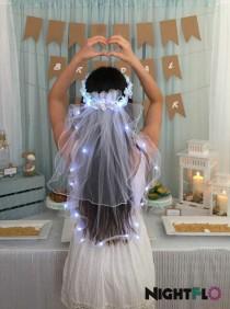 wedding photo - Turquoise Swirl Rose NightFlo w/ Light Up Veil for Wedding & Bachelorette Parties