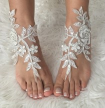 wedding photo -  FREE SHIP, ivory Barefoot silver frame , french lace sandals, wedding anklet, Beach wedding barefoot sandals, embroidered sandals.