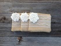 wedding photo - 3 Burlap and Lace Wedding Clutches, Summer Wedding, Flower Girl Purse, Maid of Honor Gift, Bridal Party Gift, Country Western Wedding Bag
