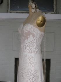 wedding photo - Strapless Rustic Hippie Vintage Lace Ivory Champagne Wedding Gown, Boho Wedding Dress, Beach Wedding Dress