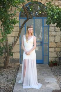 wedding photo - Adrienne - Boho wedding dress , bohemian wedding dress, beach wedding dress, backless wedding dress