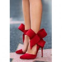 wedding photo - Charming Removable Big Bow High Heel Heels Shoes