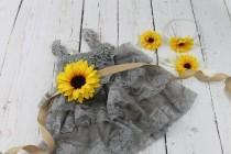 wedding photo - Grey Flower Girl Dress Sunflower Flower Girl Dress Rustic Grey Flower Girl Dress Grey Jr Bridesmaid Dress Gray Country Wedding Dress