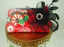 wedding photo - Vintage Kimono / Bridesmaid Clutch / Wedding Clutch / Japanese Kimono / Asian Influence Wedding / Red Handbag