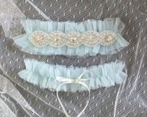 wedding photo - SALE Light Blue Silk Tulle Rhinestone Crystal Garter Set Something Blue ,Ballerina Ruffles Tutu Bridal Lingerie Wedding Baby Blue Garter