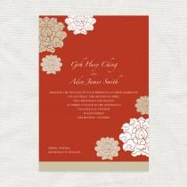 wedding photo - chinese wedding invitations set 婚禮喜帖  - DIY printable - asian red floral pattern flowers chrysanthemum, custom, birthday invite, reply card
