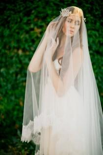 wedding photo - Bridal veil- double layer veil- fingertip veil-drop veil-wedding veil- waltz veil- circle blusher veil- cathedral veil-style 100