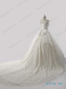 wedding photo - Luxury Beading bodice cathedral train princess wedding dress