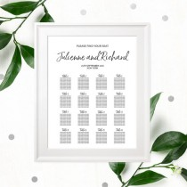 wedding photo -  Hand Lettered Seating Chart Poster-DIY Printable Calligraphy Custom Seating Chart for Rehearsal Dinner-Wedding Reception Seating Plan