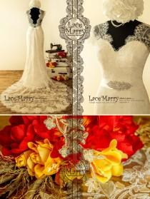 wedding photo - Bohemian Lace Wedding Dress in 20's Style with Illusion Neckline and Open Back