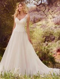 wedding photo -  New Lace Applique Wedding Dresses Beaded Illusion Straps V-neckline And V-back Bridal Ball Gowns A-Line Wedding Dress Lace Luxury Illusion Online with $160.0/Piece on Hjklp88's Store