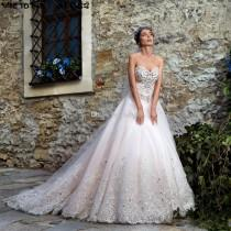 wedding photo -  2017 Sweetheart Luxury Crystal Wedding Dresses Vintage A Line Rhinestones Beaded Appliqued Lace Up Bridal Gowns Beach Lace Wedding Gowns Lace Luxury Illusion Online with $188.58/Piece on Hjklp88's Store