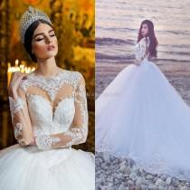 wedding photo -  2017 Long Sleeves Wedding Dresses Bridal Gowns Sexy Sheer Neckline Keyhole Back Cathedral Wedding Gowns with Appliques/Lace Lace Luxury Illusion Online with $182.86/Piece on Hjklp88's Store