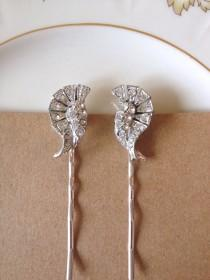 wedding photo - Pair of Art Deco rhinestone hair pins, set, 1920s, weddings, rustic, bridal, jewelry, country, vintage jewelry, set, Art Deco, hair pins