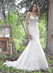 wedding photo -  New 2017 Sexy Sweetheart Wedding Dresses Lace Applique Mermaid Wedding Dress Backless Strapless Bridal Gowns Lace-up Lace Luxury Illusion Online with $162.29/Piece