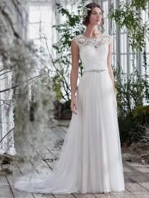 wedding photo -  New Arrival Sexy Illusion Lace Neckline Wedding Dresses Crystal Beaded Sash Bridal Gowns Appliques A-Line Wedding Dress Zipper 2017 Lace Luxury Illusion Online with
