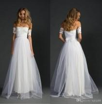wedding photo -  New Arrival Lace Arm Separately Grace Lace Wedding Dresses Lace Tulle Bridal Gowns A-Line Beach Wedding Dress Lace Luxury Illusion Online with $139.43/Piece on Hjkl