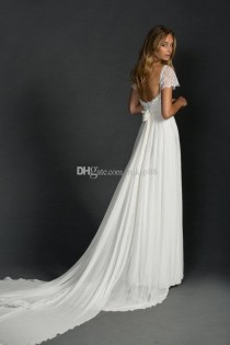 wedding photo -  New Arrival Lace Wedding Dresses Short Sleeves Square Neckline Lace Chiffon Bridal Gowns A-Line Beach Wedding Dress Detachable Train Lace Luxury Illusion Online wit