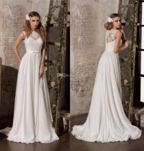 wedding photo -  2017 New Arrival Lace Wedding Dresses Jewel Neck Lace Chiffon Bridal Gowns A-Line Beach Wedding Dress Zipper Lace Luxury Illusion Online with $137.15/Piece on Hjklp