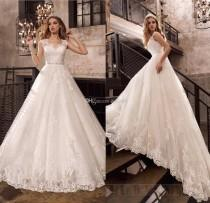 wedding photo -  2017 New Beaded Sash Vintage Lace Wedding Dresses Applique Beads Tulle Bridal Gowns Backless A-Line Garden Wedding Dress Zipper Button Lace Luxury Illusion Online w