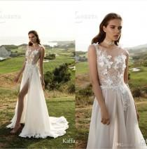wedding photo -  2017 New Arrival Embroidery Lace Sexy Wedding Dresses Sheer Chiffon Bridal Gowns Backless A-Line Garden Wedding Dress Side Zipper Lace Luxury Illusion Online with $